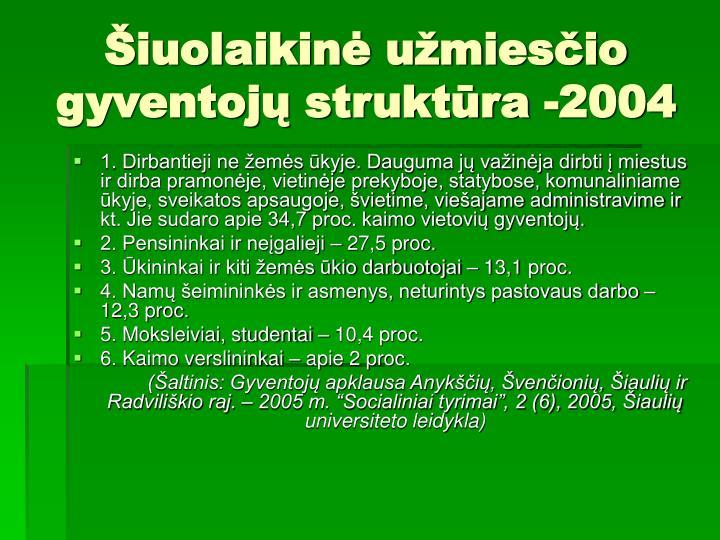 Šiuolaikinė užmiesčio gyventojų struktūra -2004