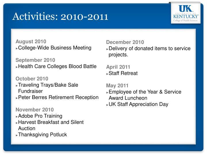 Activities: 2010-2011