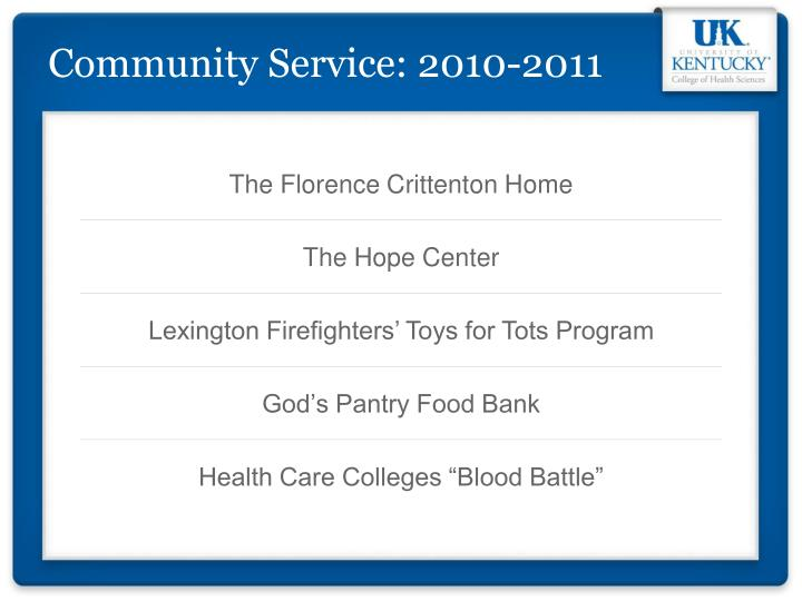 Community Service: 2010-2011
