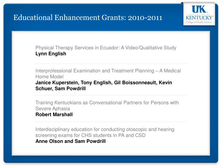 Educational Enhancement Grants: 2010-2011