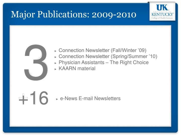 Major Publications: 2009-2010