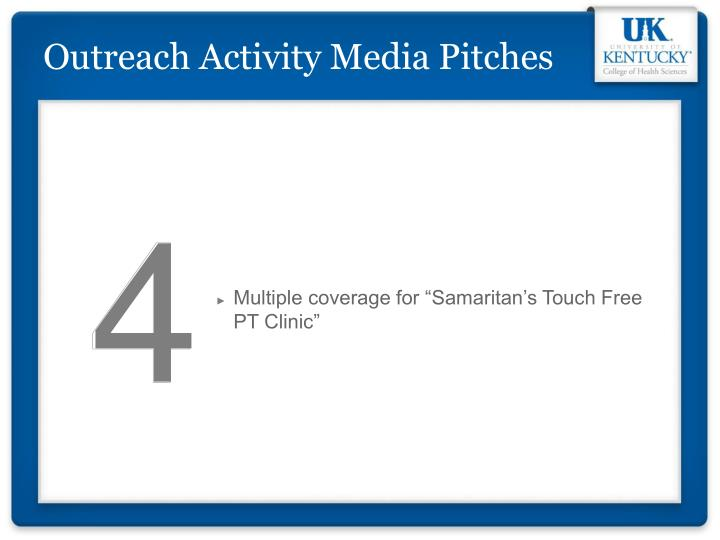 Outreach Activity Media Pitches