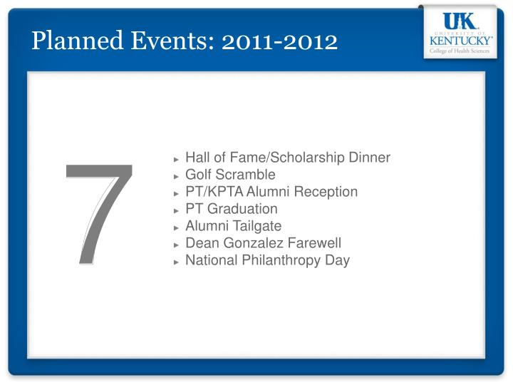 Planned Events: 2011-2012