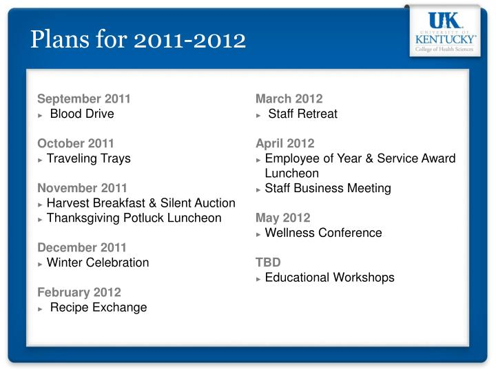 Plans for 2011-2012