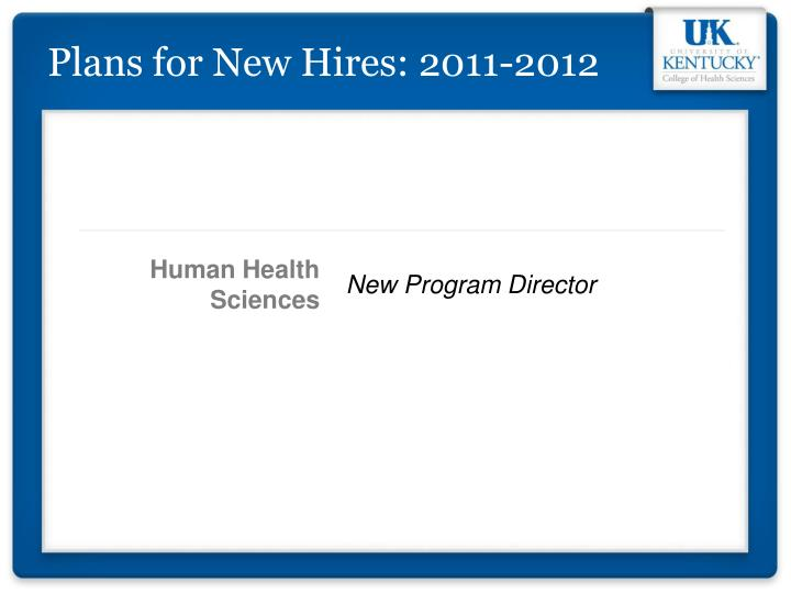 Plans for New Hires: 2011-2012