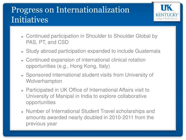 Progress on Internationalization Initiatives