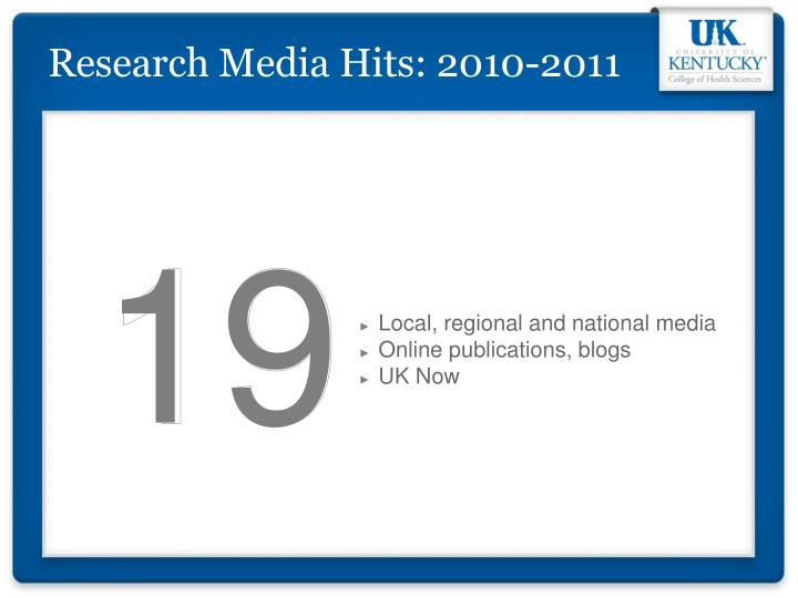 Research Media Hits: 2010-2011