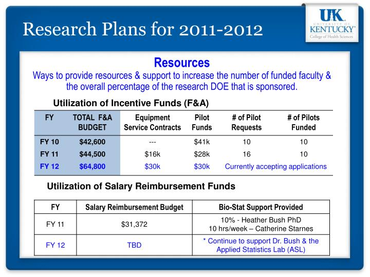 Research Plans for 2011-2012