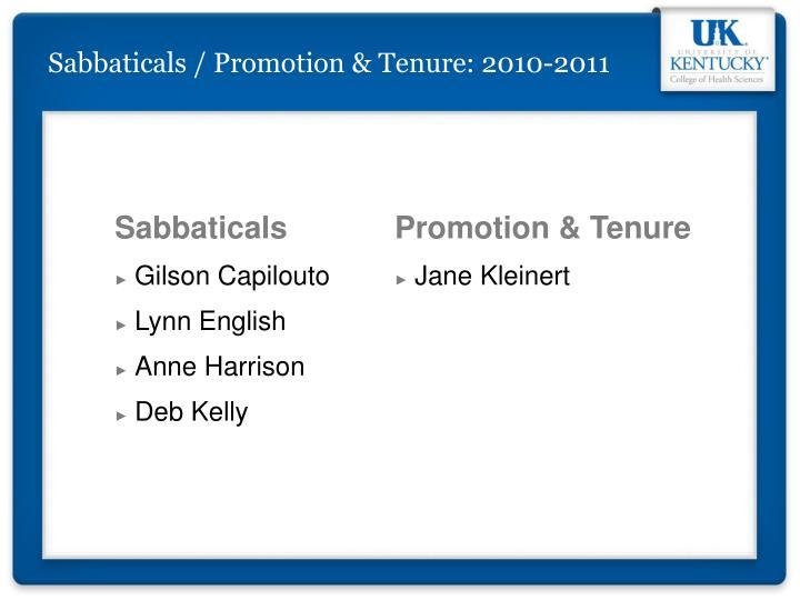 Sabbaticals / Promotion & Tenure: 2010-2011