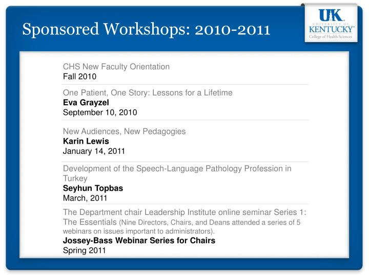 Sponsored Workshops: 2010-2011