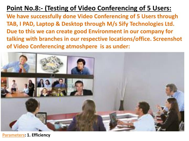 Point No.8:- (Testing of Video Conferencing of 5 Users: