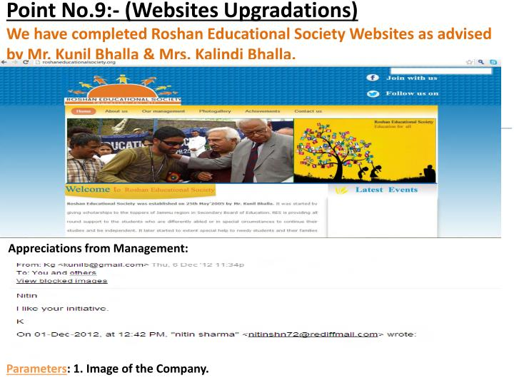 Point No.9:- (Websites Upgradations)