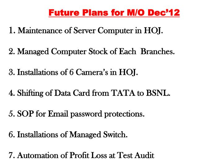 Future Plans for M/O Dec'12