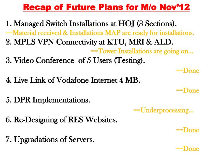 Recap of Future Plans for M/o Nov'12