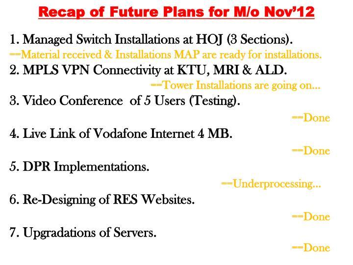 Recap of Future Plans for M/o Nov'12