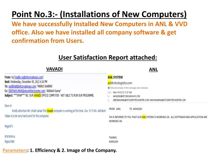 Point No.3:- (Installations of New Computers)