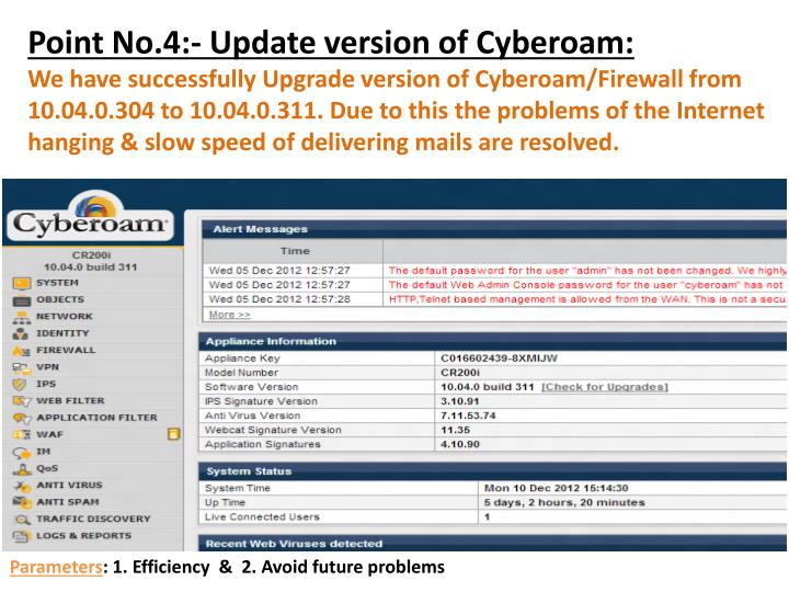 Point No.4:- Update version of Cyberoam: