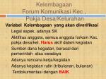 kelembagaan forum komunikasi kec pokja desa kelurahan