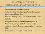 rencana kegiatan forum kab sehat tahun 2014