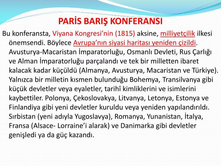 PARİS BARIŞ KONFERANSI