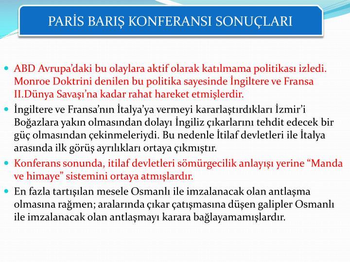 PARİS BARIŞ KONFERANSI SONUÇLARI