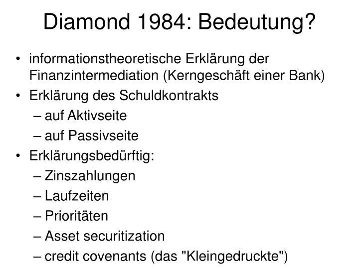 Diamond 1984: Bedeutung?