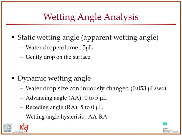 Wetting Angle Analysis
