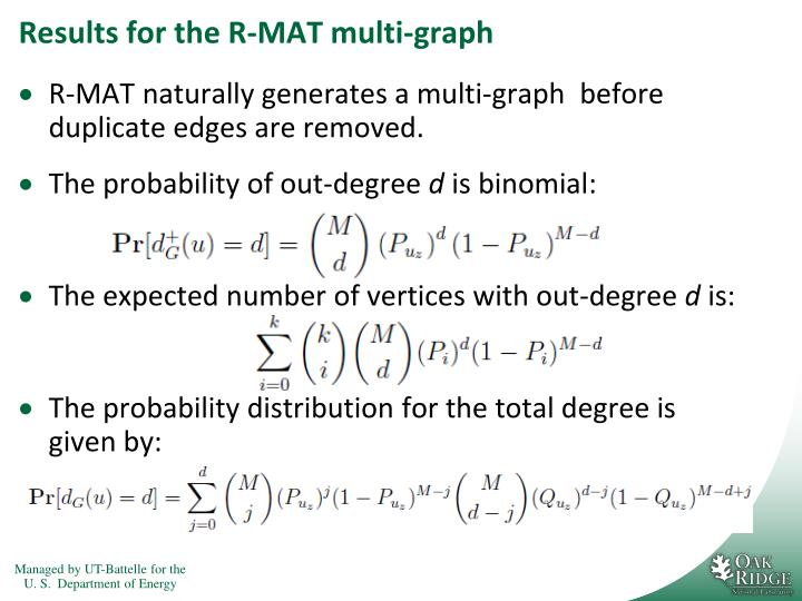 Results for the R-MAT multi-graph