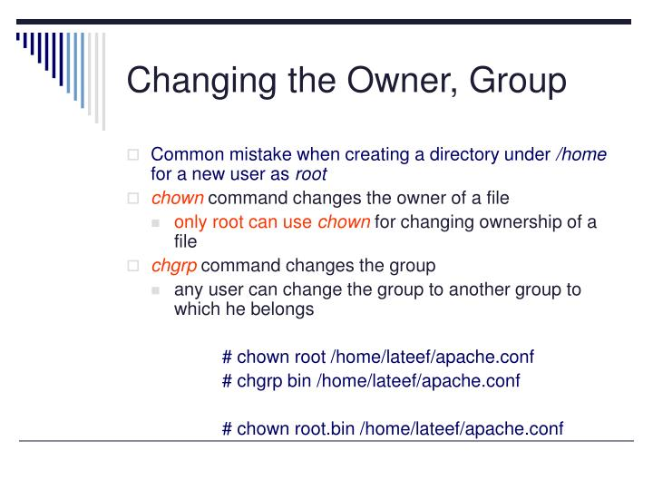 Changing the Owner, Group