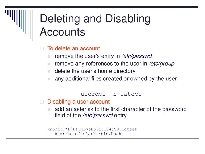 Deleting and Disabling Accounts