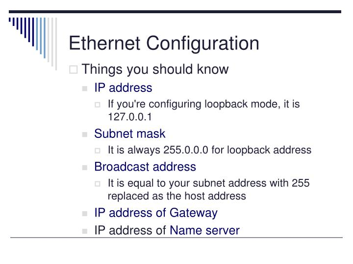 Ethernet Configuration
