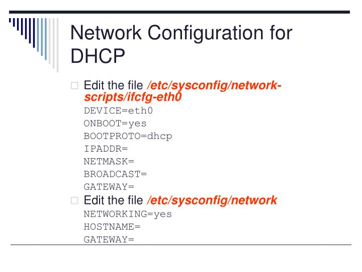 Network Configuration for DHCP