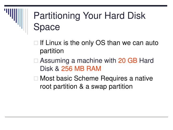 Partitioning Your Hard Disk Space