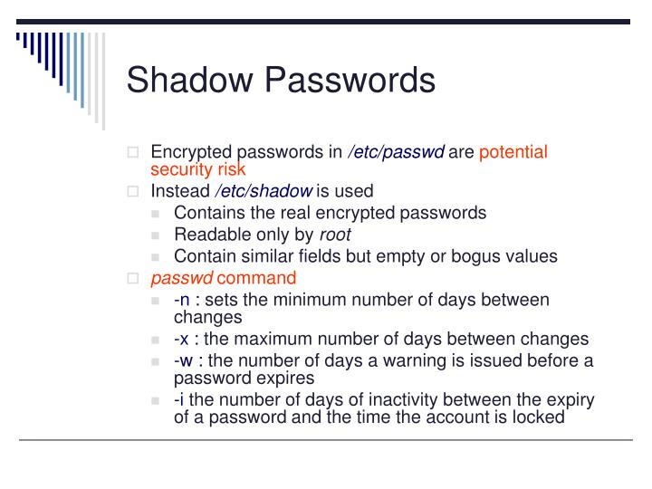 Shadow Passwords