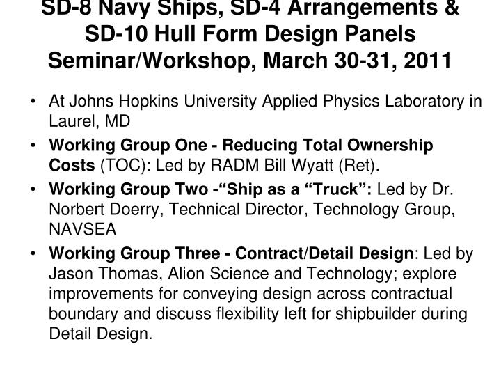 SD-8 Navy Ships, SD-4 Arrangements & SD-10 Hull Form Design Panels