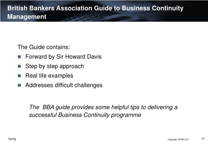 British Bankers Association Guide to Business Continuity Management