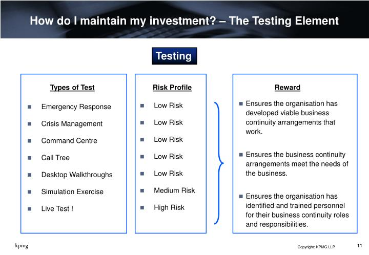 How do I maintain my investment? – The Testing Element