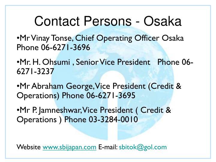 Contact Persons - Osaka