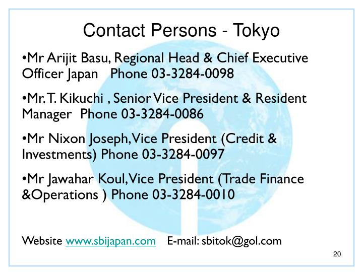 Contact Persons - Tokyo