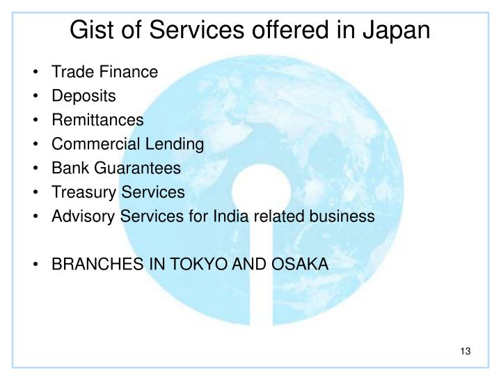 Gist of Services offered in Japan