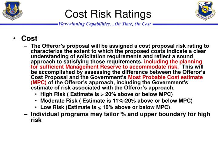 Cost Risk Ratings