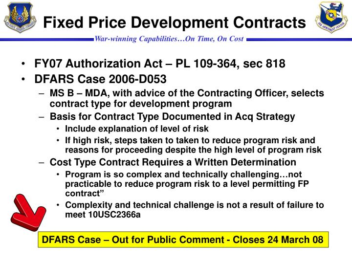Fixed Price Development Contracts
