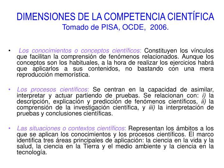 DIMENSIONES DE LA COMPETENCIA CIENTÍFICA