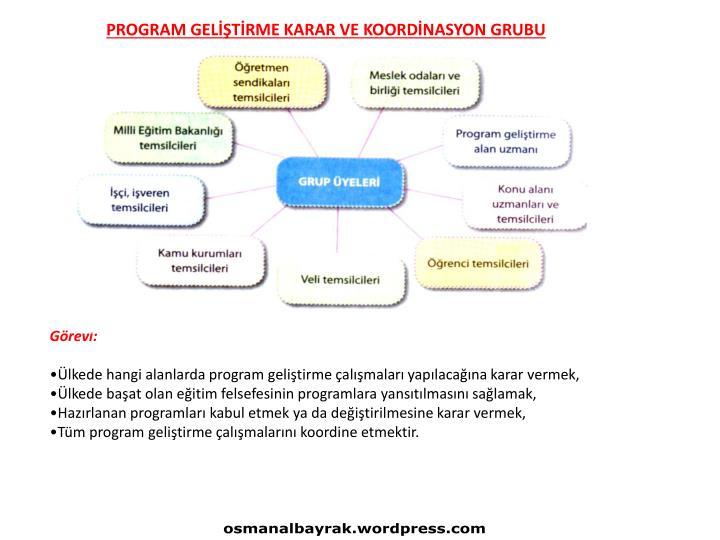 PROGRAM GELİŞTİRME KARAR VE KOORDİNASYON GRUBU