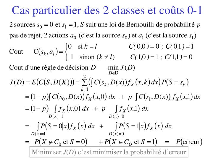 Cas particulier des 2 classes et coûts 0-1