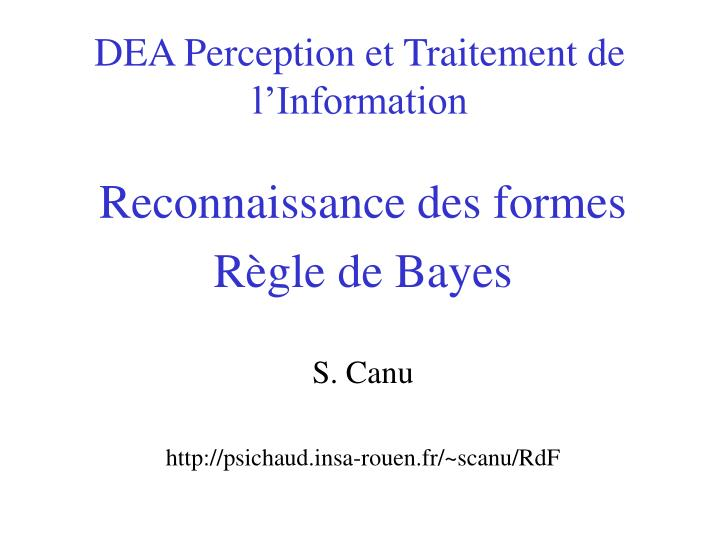 Dea perception et traitement de l information
