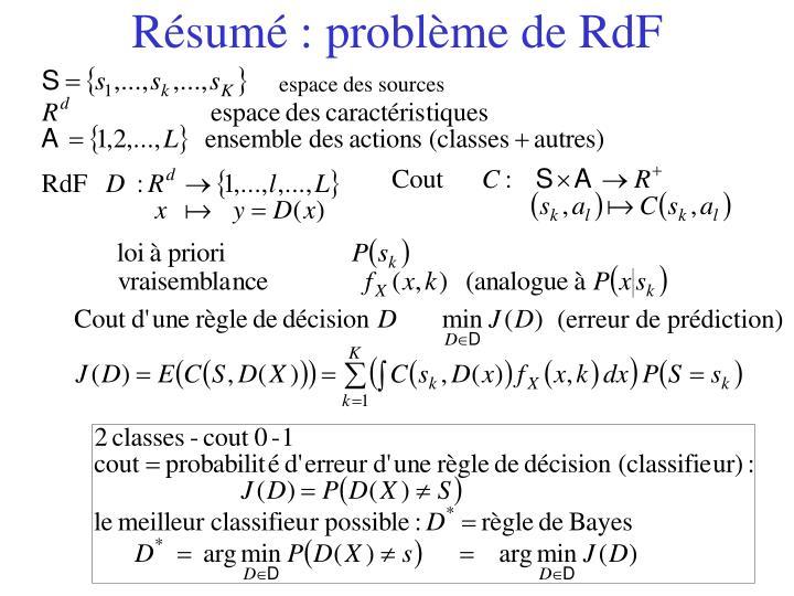 Résumé : problème de RdF