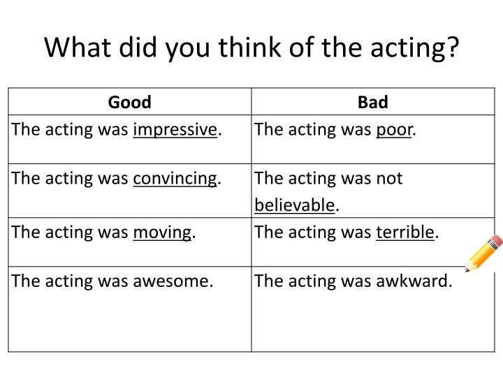 What did you think of the acting?