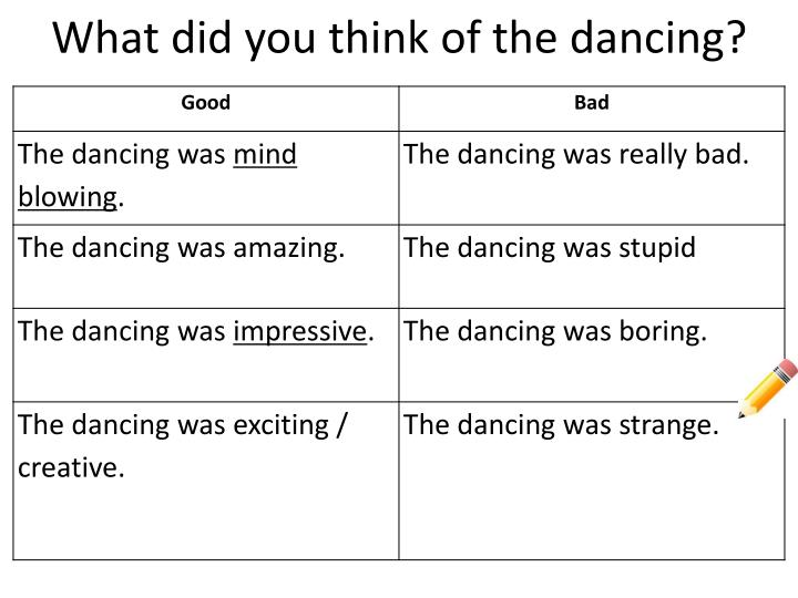 What did you think of the dancing?