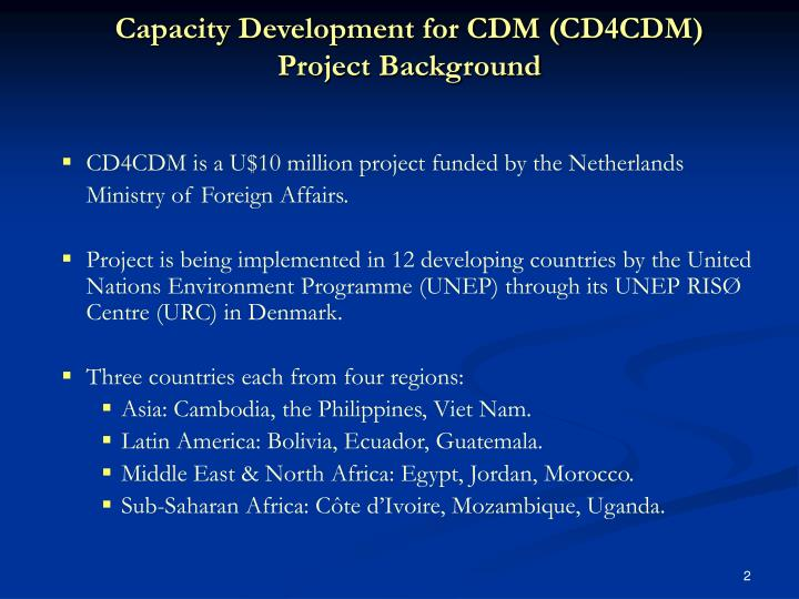 Capacity development for cdm cd4cdm project background